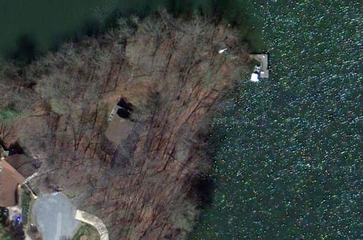 Satellite Shows Home, Dock and Waterfrontage